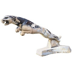 Impressive and Unique Concrete Salvaged Jaguar Dealer Mascot Sculpture Ornament