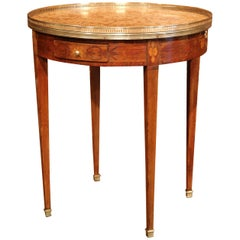 19th Century French Louis XVI Walnut Round Bouillotte Table with Marble Top