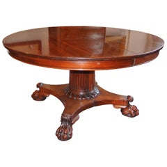 19th Century, Empire Mahogany Extending Round Table on Centre Column