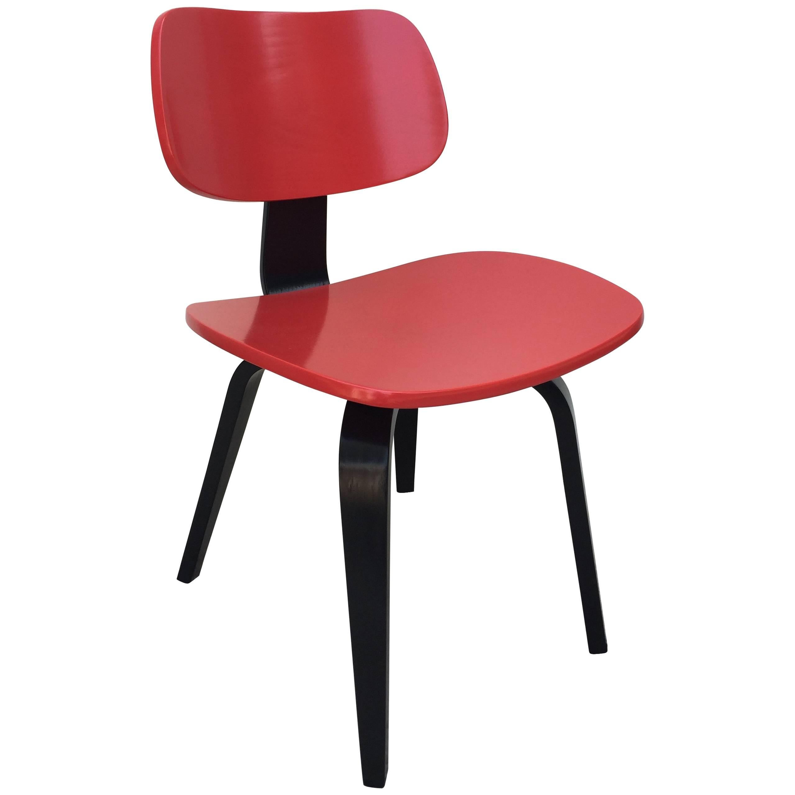 Thonet Bentwood Red and Black Lacquered Modernist Desk Chair