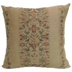 Tan and Brown Arts & Crafts Linen Floral Decorative Pillow