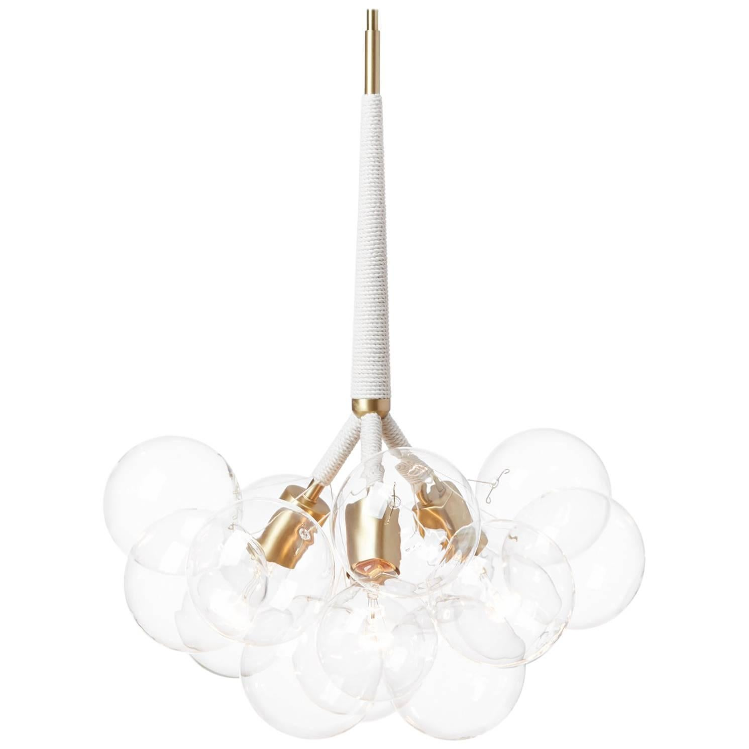 Original Bubble Chandelier in Natural Cotton and Satin Brass by Pelle
