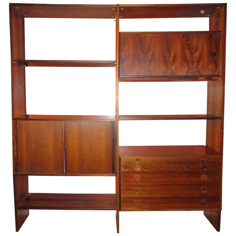 Arne Vodder Style Danish Modern Two Bay Freestanding Rosewood Wall Unit