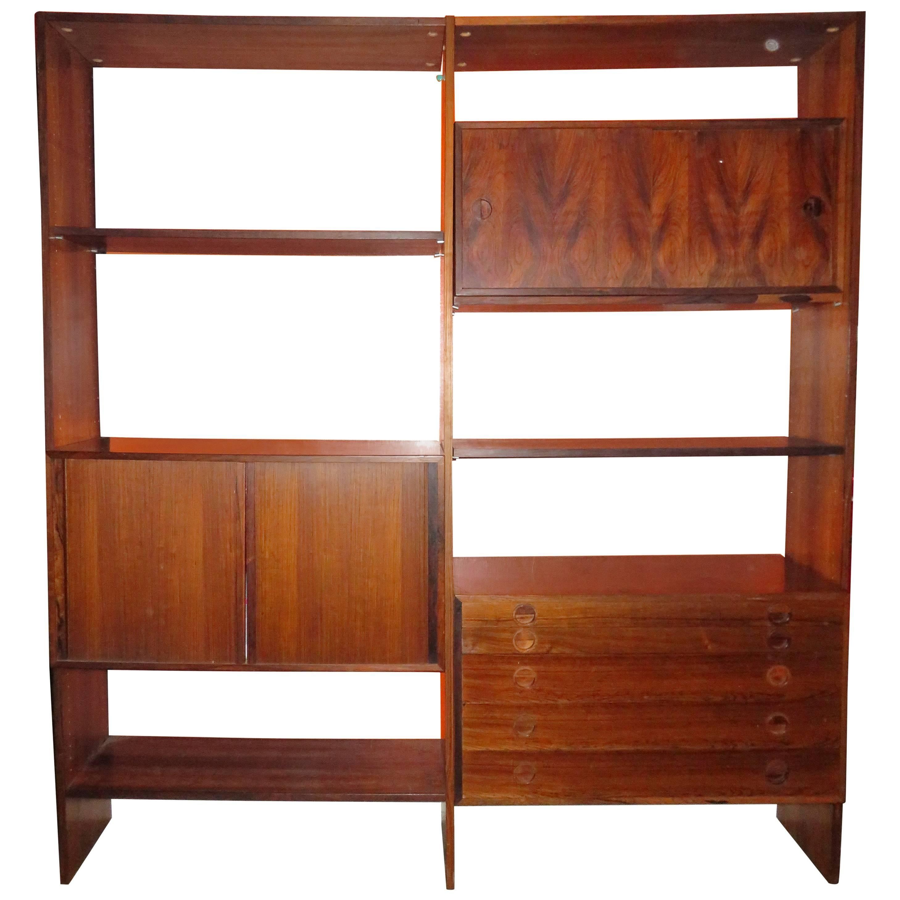 arne vodder style danish modern two bay rosewood wall unit