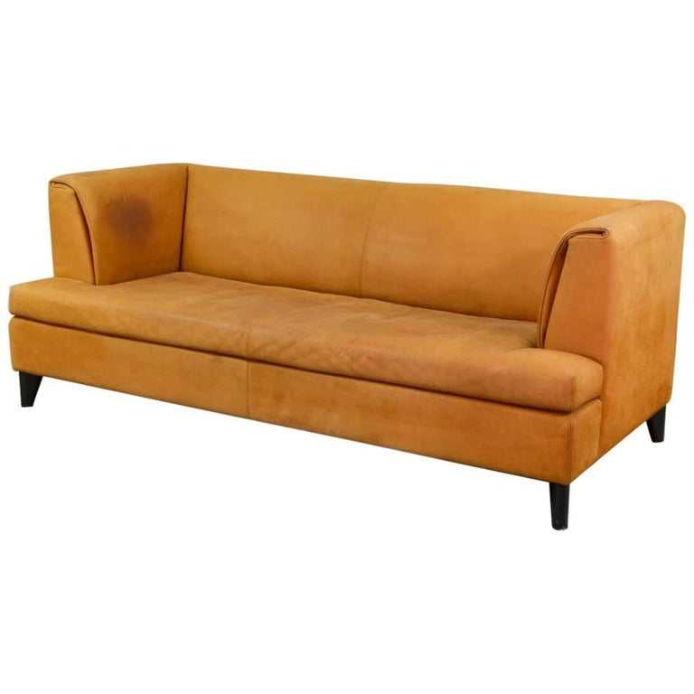 mid century cognac colored nubuck leather sofa by paolo piva for wittmann at 1stdibs. Black Bedroom Furniture Sets. Home Design Ideas