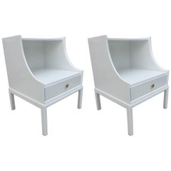 Pair of Tommi Parzinger White Lacquered Elegant Two-Tier End Tables/Nightstands