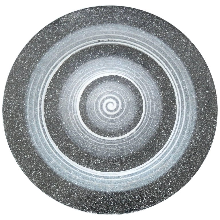"Maurice Heaton Enameled Glass ""Cosmos"" Plate, circa 1935 For Sale"
