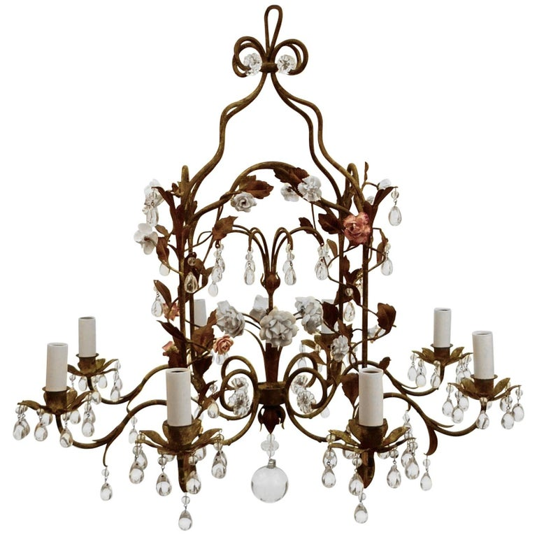 Country french iron and porcelain eight light chandelier French country chandelier