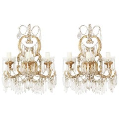 Pair of 1920s Italian Crystal Beaded Sconces