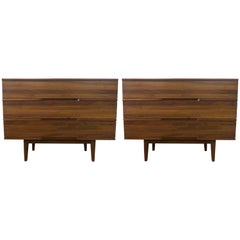 1960 Pair of Unique Walnut Dressers