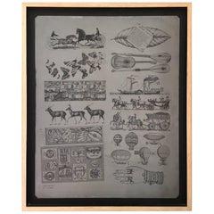 """Original Zinc Lithograph Plate """"Scatole"""" by Piero Fornasetti"""