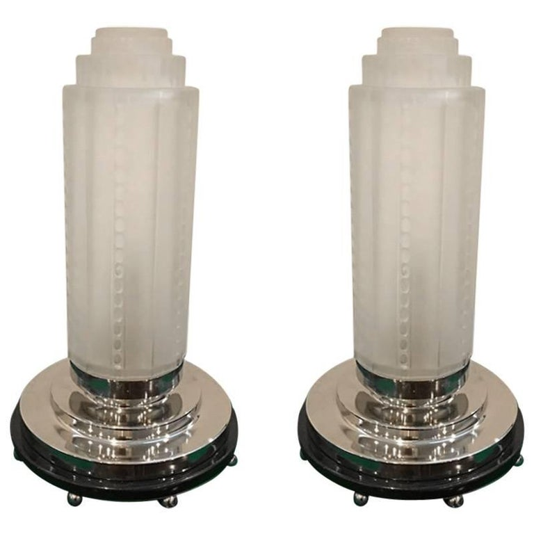 Pair of French Art Deco Table Lamps by Genet et Michon with Marble Base