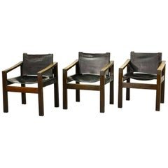 Three Mid-Century Brutalist Wengé Wooden Side Chairs with Sadle Leather