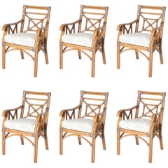 Set of Six Rattan and Bamboo Armchairs, circa 1960