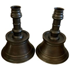 Massive Pair of Early 20th Century Ottoman Empire Copper Candleholders