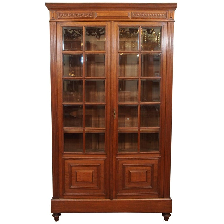 Antique French Oak Beveled Armoire or Bibliothèque