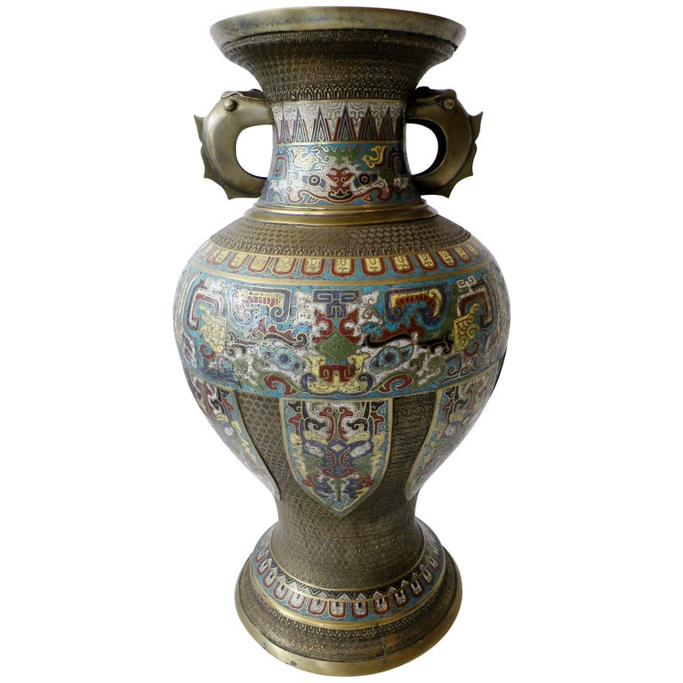 Large 19th Century Chinese Champleve Enamel and Bronze Vase For Sale