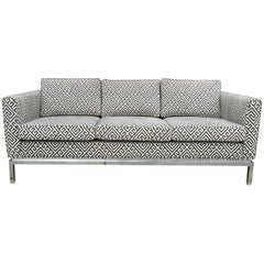 Knoll Style Mid-Century Modern Chrome Sofa in Grey Greek Key Cut Velvet
