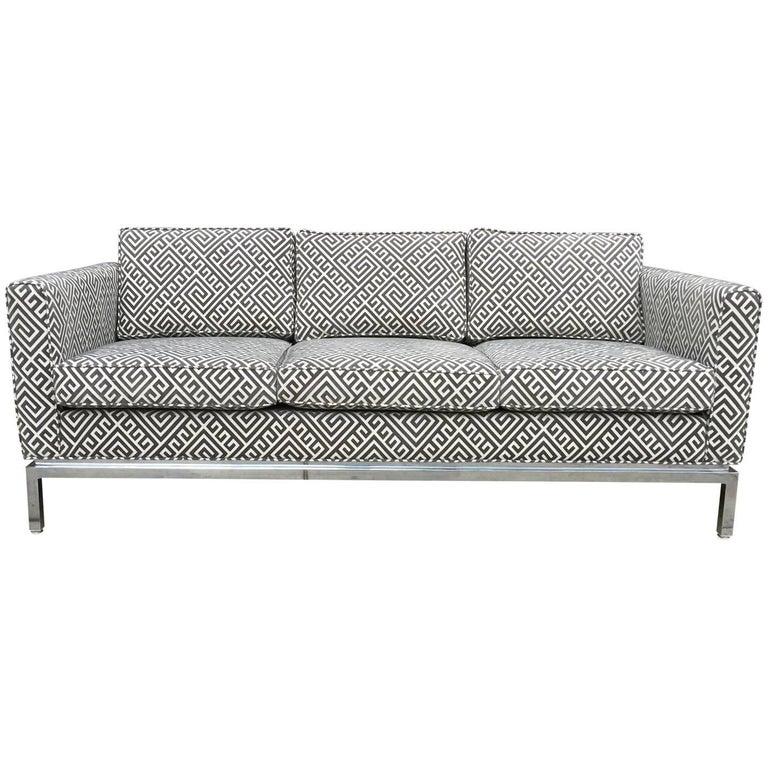 Knoll Style Mid-Century Modern Chrome Sofa in Grey Greek Key Cut Velvet 1