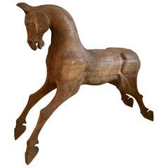 Large Early 20th Century, Wooden Folk Art Horse Sculpture