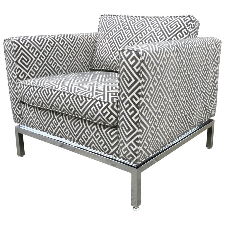 Knoll Style Mid Century Modern Chrome Sofa In Grey Greek