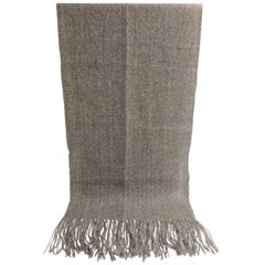 Vintage Alpaca Handwoven Grey Throw with Fringes