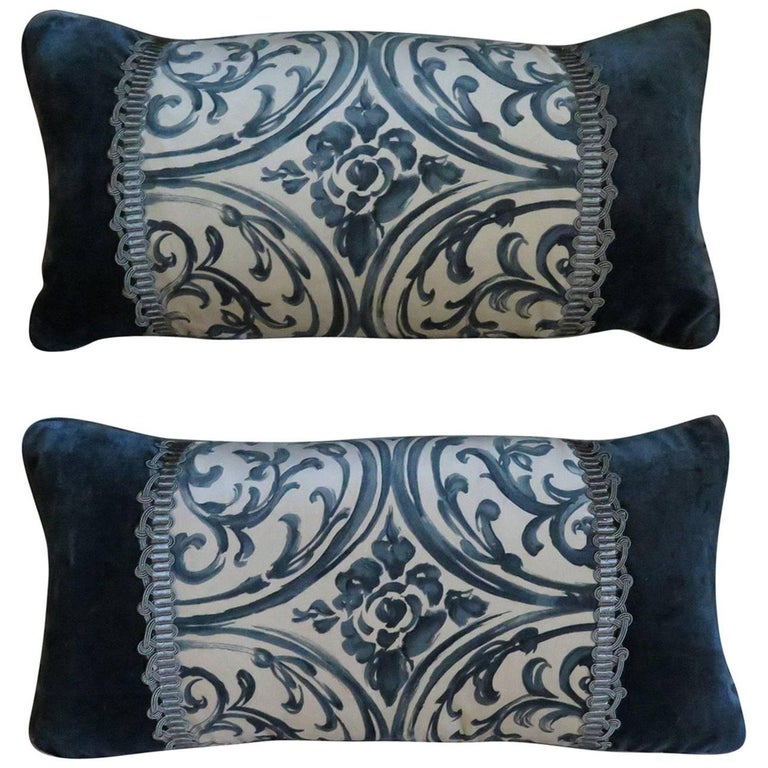 Pair of Teal Silk Velvet Pillows