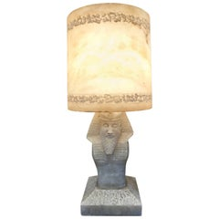 Early 20th Century Egyptian Pharaoh Alabaster Table Lamp with Alabaster Shade