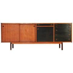 Italian Sideboard with Wood and Brass Knobs