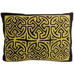 Vintage Yellow and Black Graphic Decorative Pillow