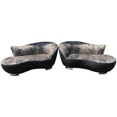Stunning Pair of Petite Vladimir Kagan Style Cloud Kidney Shaped Sofa Loveseat
