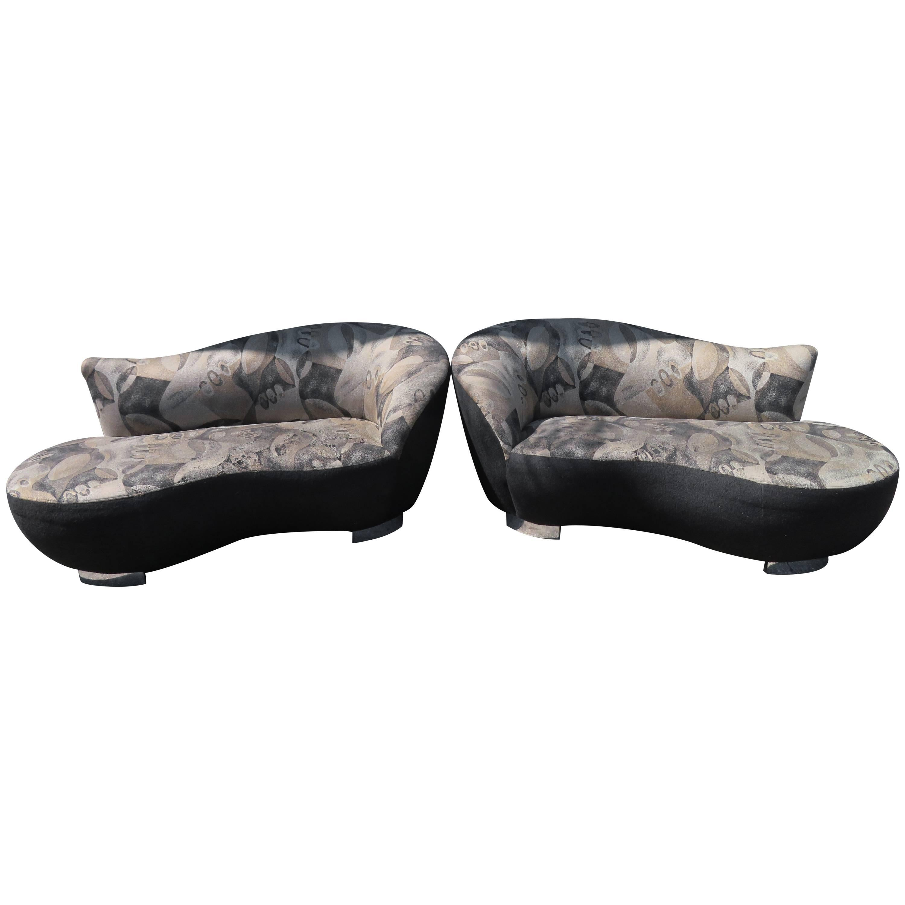 stunning pair of petite vladimir kagan style cloud kidney shaped sofa loveseat 1