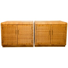 Pair of Rattan Cabinets with Interior Glass Shelf and Brass Detail