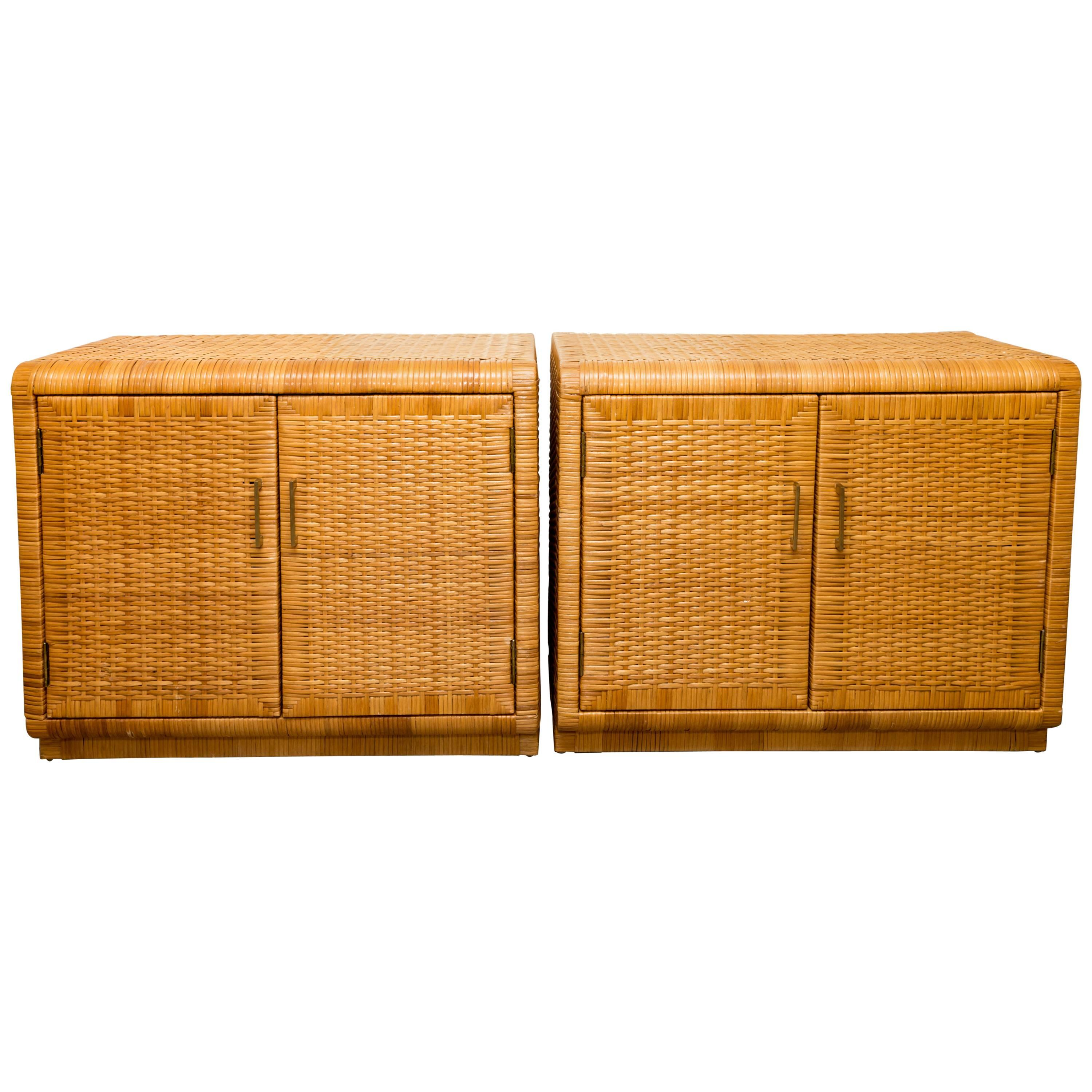 Pair Of Rattan Cabinets With Interior Glass Shelf And Brass Detail For Sale