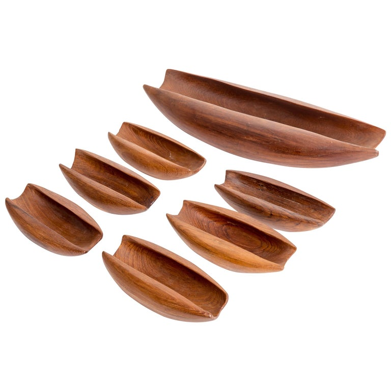 Teak Wood Pieces ~ Seven pieces solid teak vessels carved from single