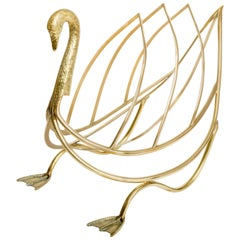 Brass Swan Form Magazine Holder
