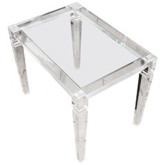 Rectangular Lucite Glass Top Side Table with Tapered Legs
