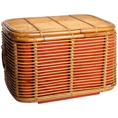 Rattan Ottoman or Storage Chest with Fabric Lining
