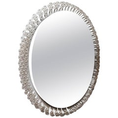 Oval Backlit Mirror with Clear Lucite Flower Surround