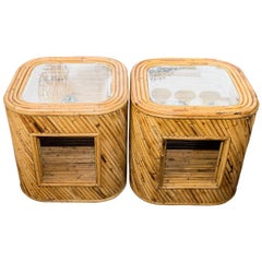 Pair of Rattan Side Cabinets with Glass Tops and Bottom Shelves