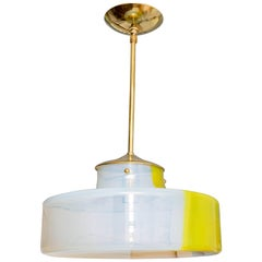 Opaque Glass with Yellow Stripe Pendant with Brass Detail by Mazzega
