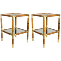 Pair of Wood, Metal and Tinted Glass Side Tables with Two Shelves