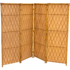 Four-Panel Rattan Screen with Inserted Woven Grass Panels for Privacy