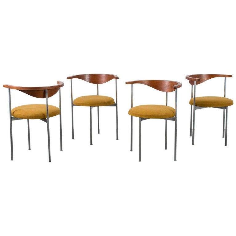 Frederik Sieck for Fritz Hansen Set of Four Model 3200 Chairs, Denmark, 1960s