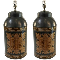 Pair of Tole Chinoiserie Tea Caddy Lamps