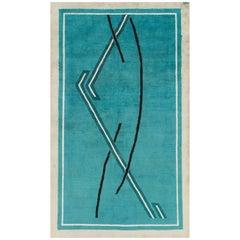 Midcentury Handmade Persian Amoghli Mashad Art Deco Accent Rug