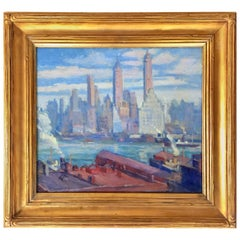 """New York City"" WPA Period Painting by E.T. Kirby"