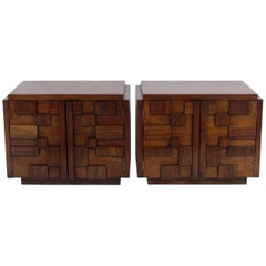 Pair of Sculptural Walnut Nightstands or End Tables