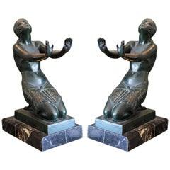 Le Faguays, Bronze Art Deco Sculpture, Bookends, 1930