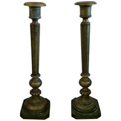 Monumental Late 19th Century, Ottoman Empire Bronze Candleholders